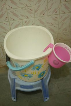 The shower is a bucket and hand held tub!